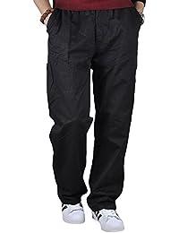 NiSeng Herren Sommerhose Lange Cargohose mit Vielen Taschen Vintage Pants