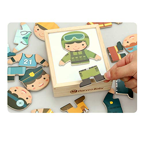 ZMH Wooden Dress Up Puzzle 18Pcs Children Early Educational Toys Set, Career Dress-Up Game Kids Pretend Play Kit Gift for Age 2 3 4 Years Old Boy - Age Play Kostüm