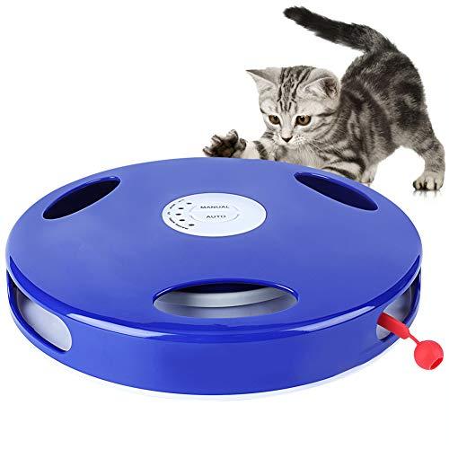 Interaktives Katzenspielzeug, Haustierkatzenspielzeug mit elektronisch drehender Feder, 5 Modi manuelles oder automatisches Spielen, hängendes elektrisches Katzenspielzeug mit versteckter Bewegung