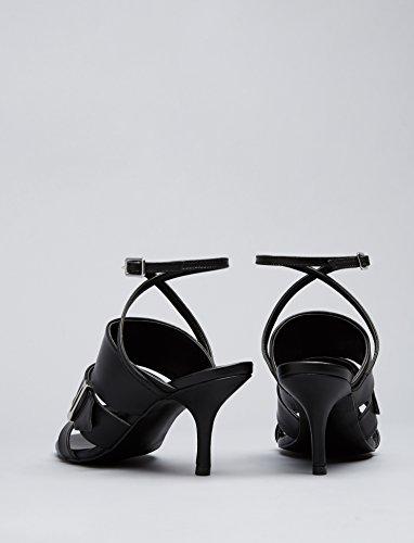FIND Sandales Bout Ouvert Femme Noir (Black)