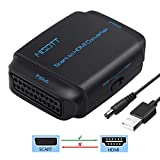 MISOTT Convertitore da Scart a HDM, Ingresso Scart Uscita HDMI Adattatore, Supporta Passaggio di Uscita HDMI 720P / 1080P per STB, Sky, DVD, XBOX