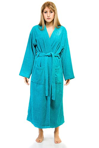 Carpemodo Bath Robe Dressing Gown Lounge Coat Turquoise Medium Öko-Tex-Certified