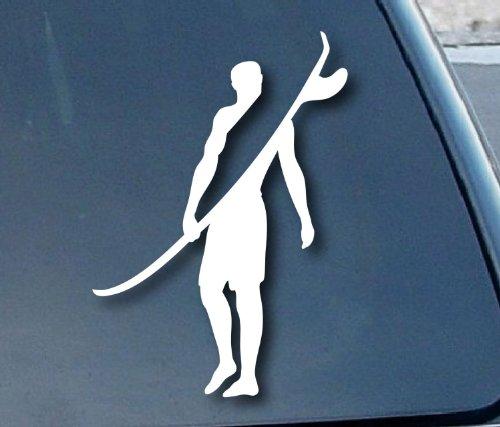 Aufkleber / Autoaufkleber / JDM Die Hart - Surfer Surfing Wave Car Window Vinyl Decal Sticker 101mm Tall - weiß