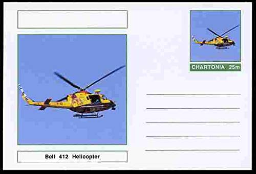 Chartonia (Fantasy) Aircraft - Bell 412 Helicopter postal stationery card unused and fine TRANSPORT AVIATION HELICOPTERS JandRStamps
