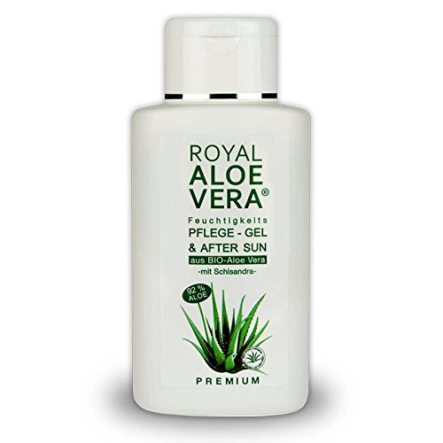 Royal Aloe Vera Premium Pflege Gel After Sun/Aftershave mit 92% Bio Aloe Vera + Schisandra -
