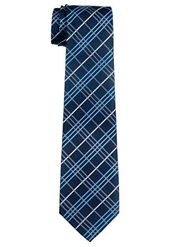 Retreez Jungen Gewebte Krawatte Tartan Plaid Karo Manier - 8 - 10 Jahre - marineblau (Plaid-krawatte Blaue)