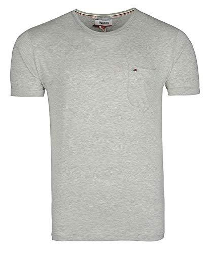 Tommy Hilfiger Denim T-Shirt mit Tasche (XXL, Grau) (Tommy Hilfiger Denim Shirt Herren)