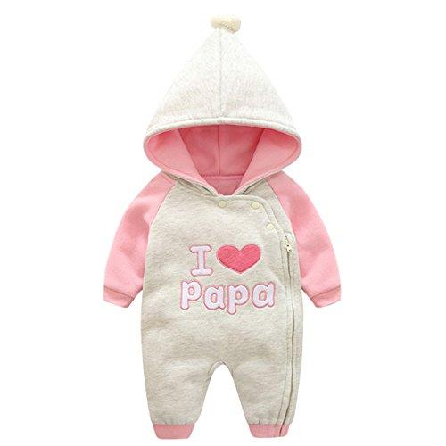 Baby Mädchen Winter Kleidung (Bebone baby Kleidung Mädchen Winter Strampler I Love Mama I Love Papa (I Love Papa 2, 3-6Monate/59cm))