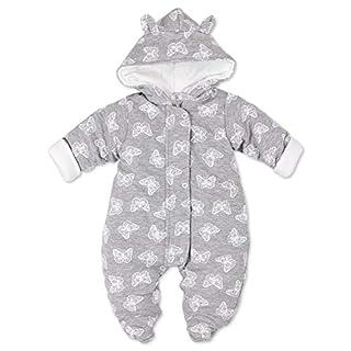 Artex Baby Winter Overall Mädchen   Farbe: grau Schmetterlinge   Winter Anzug mit Kapuze für Neugeborene & Kleinkinder   Größe: 6 Monate (68)