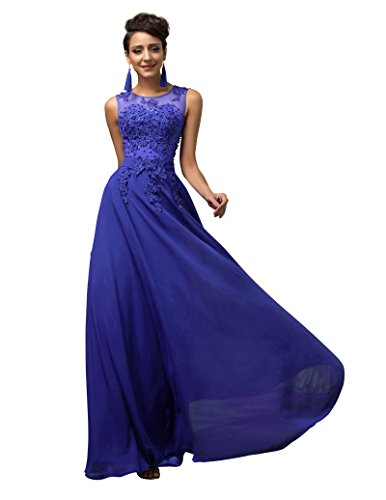 Damen Blau Bodenlang Abendveranstaltung Partykleider 50 CL007555-6