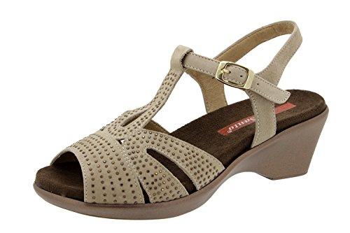 Scarpe donna comfort pelle Piesanto 4863 sandali soletta estraibile comfort larghezza speciale
