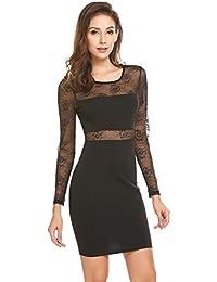 35e9fcde04a688 Meaneor Damen Elegant Kleider Knielang Langarm aus Spitzen Abendkleid  Etuikleid Partykleid Spitzenkleid
