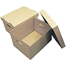 Storage Boxes - 375x278x260mm (14.75x11x10.25ins). Pack of 10 Strong Cardboard Boxes & Lids for Archiving/Filing. Easy to Carry with Hand Holes. Ideal for Storing or Moving Documents, Folders, Paperwork & Books. Flatpacked & Easily Assembled. Prompt Delivery.