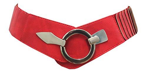 Damen Gürtel Kunstleder Taillengürtel Hüftgürtel One Size Stretch Gürtel #SA-73 (Uni Rot)