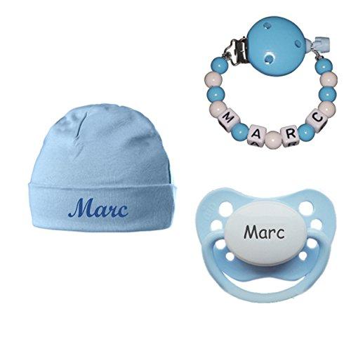Schnullireich Baby Geschenkset mit Namen (Junge) - Personalisierte Schnullerkette mit Namen, Schnuller + Babymütze mit Namen