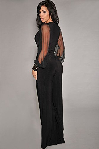b3e32733bc1a Ovender Tuta Elegante da Donna Ragazza Manica Lunga Pantalone Lungo  Jumpsuit Vestito Abito Abbigliamento Tute per Cerimonia Festa Ballo
