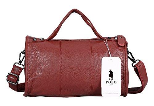 VIDENG POLO Frau Echtleder Handtasche Mini Umhängetasche Crossbody Geldbörse Tasche (Rot-plw1) (Taschen Geldbörsen Handgefertigte)