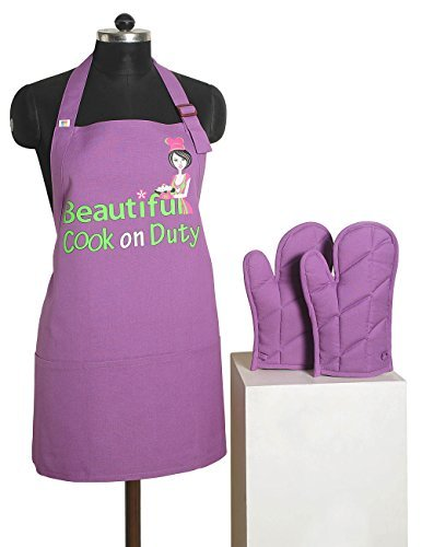 Handmade Graphic Screen Print Apron & Oven Mitt Set - 100% Cotton - Kitchen Gifts for Women