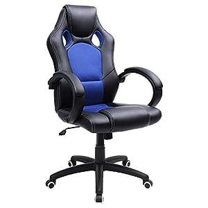 SONGMICS Racing Bürostuhl Gaming Stuhl Chefsessel Drehstuhl PU schwarz-blau OBG56L, 76.56632