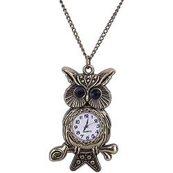 EOZY 6.5cm*4cm Owl Shaped SteampunkAnalog Glass Dail Pocket Watch Quartz Clock Necklace Chain