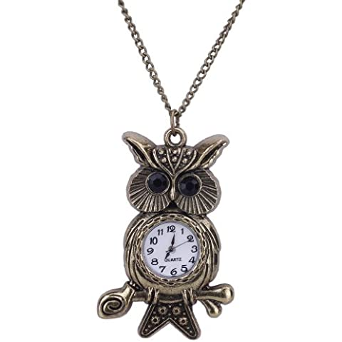 EOZY- Orologio di Lega Donna o Uomo Forma di Gufo con Bastone Pendente della Collana della Vigilanza di Tasca