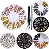NICOLE DIARY 6 Scatole 3D Decor Champagne Rivet Strass Studs Nail Art Decoration + 1Pc Penna di cera Rhinestone Picker + 1Pc Curvo Nail Nippers Tweezer Nail Art Tool