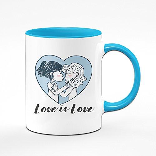 Tasse Love is Love - Pride Kaffeetasse - Liebe ist Liebe - Lesbische Geschenke - Lesbisch - Blau