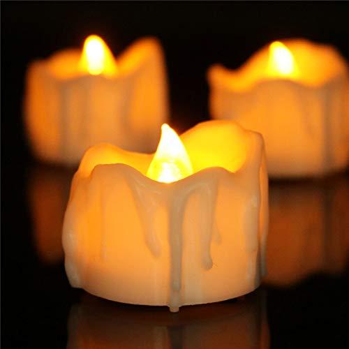 Amzbeauty Flammenlose LED Kerzen Teelichter mit Timer, 24 Packs Gelb Flackernde Kerzen Timer 6 Stunden Batteriebetrieb für Table Center, Geburtstag, Party Dekorationen