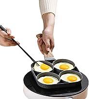 مقلاة بيض من بي بي ستور ب4 فتحات دائرية، شواية، غير لاصقة، اواني طهي مع جزء للبيض الاومليت والبان كيك ولحم الس