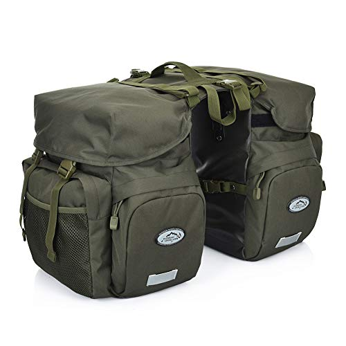 TCKGOOL Fahrrad Gepäcktaschen, 50L Gepäckträger Tasche Reißfest Groß Fahrradtaschen mit Regen-Abdeckung MTB Mountain Bike Sitz Trunk Bag (Armee grün)