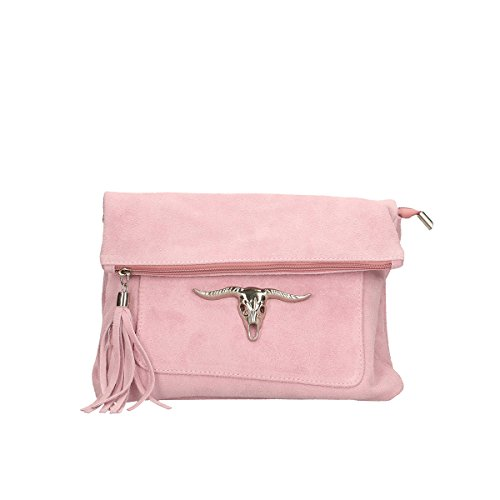 Chicca Borse Borsa a tracolla in pelle 28x22x5 100% Genuine Leather Rosa