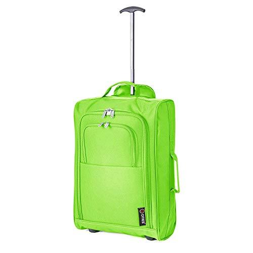 5 Cities Leichtgewicht Handgepäck Kabinentrolley Rollkoffer Gepäck Reisetasche Bordgepäck mit Rädern für Easyjet, Ryanair, British Airways, Jet 2 und viele andere Airlines 55x35x20cm 42L (Grün)