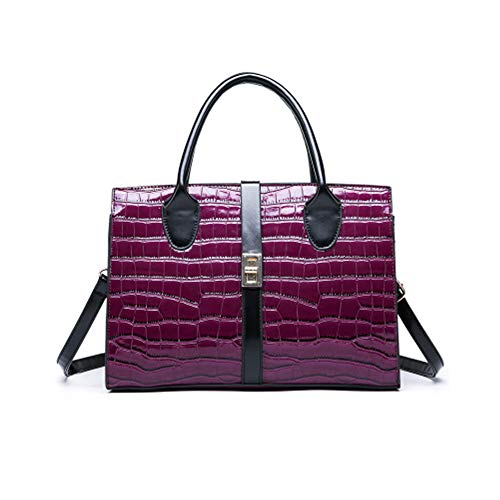 Patent Leder Messenger (Clutches Ladies Leder Handtasche, Patent Leder Top-Handle Bag Vintage Tote Crossbody Shoulder Bag,DeepPurple)