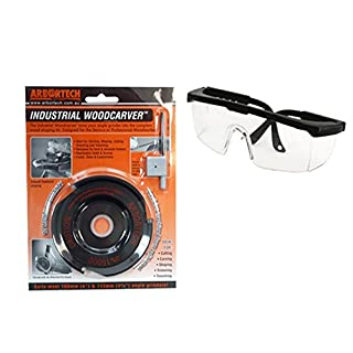 Arbo/Industrial Wood Carver Includes Protective Glasses – Cutting Disc for Wood/Angle Grinder