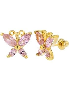 In Season Jewelry Kinder Mädchen - Schraubverschluss Ohrringe Kleiner Schmetterling 18k Vergoldet Rosa Kristall...