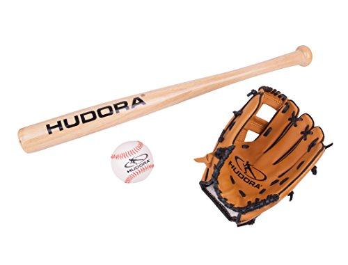 HUDORA Baseball-Set inkl. Baseball-Schläger Holz, Baseball-Handschuh & Baseball-Ball - 73000
