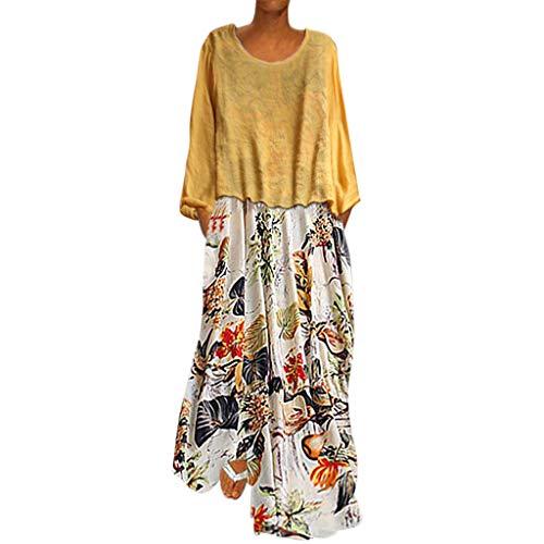 prix d'usine eef1e 6a45e TUDUZ Robe de Plage Femme Boheme Grande Taille Robe ete Femme Boho Longue  Chic Fleurie à Bretelle(X9-y Jaune,EU-46/CN-4XL)