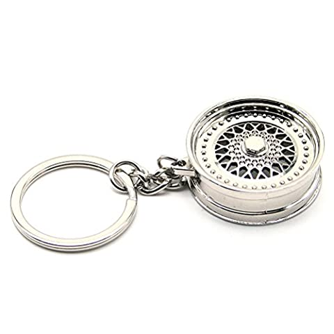 Waterwood Creative Auto Part Model BBS Wheel Rim Keychain Key Chain Ring-Silver
