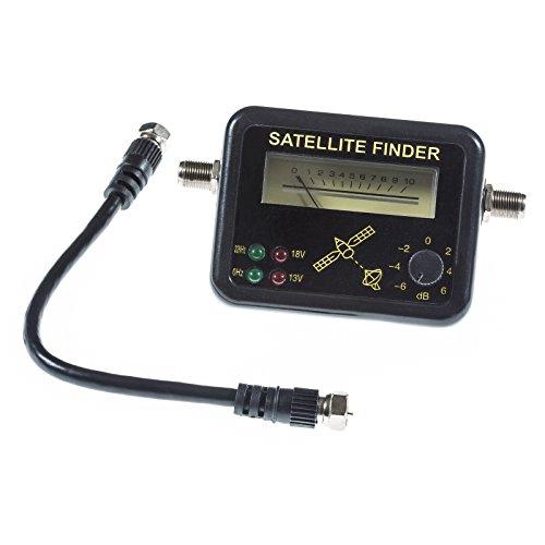 Poppstar 1x Satfinder Messgerät (max. 100mA, 2x F-Buchse), Satellitenmessgerät für exakte Justierung von Satellitenanlagen, Satellitenfinder inkl. 17 cm Koaxialkabel