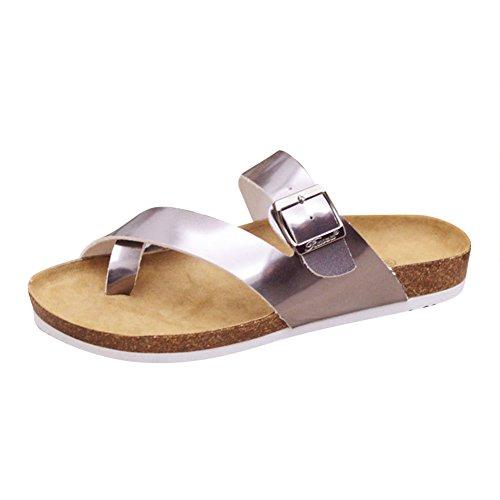 Damen Riemchen Sandalen Glitzer Zehentrenner Sandaletten Pantoletten Silber