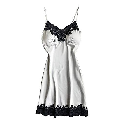 Price comparison product image Bibao Women Sexy Lingerie Sleeveless Sleepwear Halter Dress Comfortable Nightwear, Ladies Sleep Nightie Chemise Nightdress (Silver,  L)