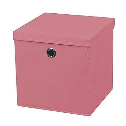 1 Stück Faltbox Rosa 28 x 28 x 28 cm Aufbewahrungsbox faltbar mit Deckel