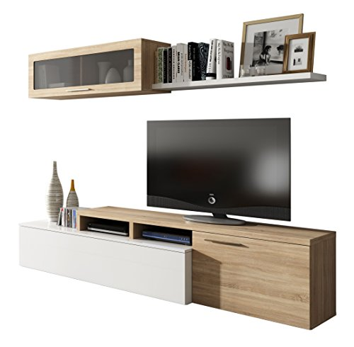 Habitdesign - Mueble de salón comedor moderno, medidas: 200x41/34x43 cm de alto (Blanco Brillo y Roble Canadian)