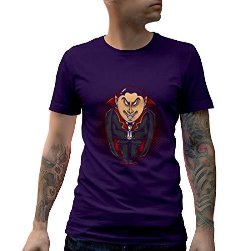 A488MCNTP Herren T-Shirt Vampire Evil Horror Hero Cape Color Cartoon Ink Hand Drawn Drawing Tattoo Classic Vintage(Small,Purple)