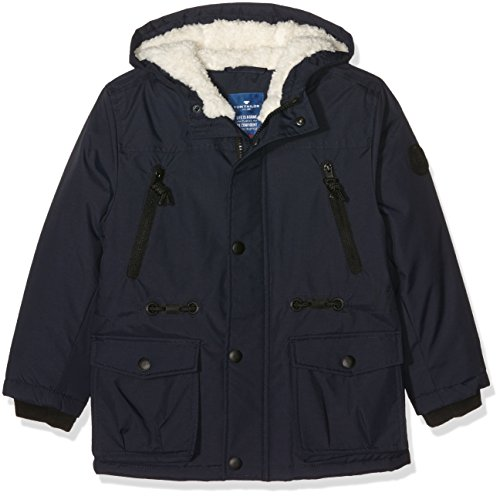 TOM TAILOR Kids hooded track parka, Giacca Bambino, Blu (knitted navy), 98 (Taglia Produttore: 92/98)