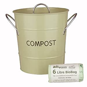 Sage Green Metal Kitchen Compost Caddy & 50x 6L All-Green Biobags - Composting Bin for Food Waste Recycling by All-Green