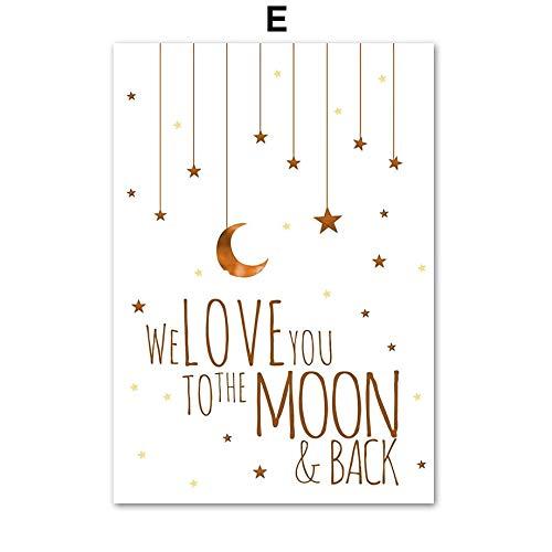 XWArtpic Lion Moon Star Cloud Aquarell Kinderzimmer Wandkunst Leinwand Malerei Nordic Poster Und Drucke Wandbilder Baby Kinderzimmer Dekor 60 * 100 cm