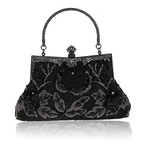 Schwarz Abend-handtasche (MMYOMI Vintage Floral Perlen Strass Stickerei Kupplung Pailletten Hochzeit Prom Bag Bridal Damen Crossbody Abend Handtasche (Schwarz))
