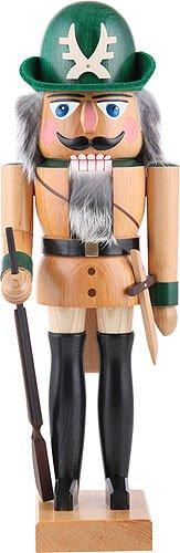 Nussknacker Figur Förster natur von DREGENO SEIFFEN 36 cm - Original erzgebirgische Handarbeit, stimmungsvolle Weihnachts-Dekoration (Dekoration Weihnachten Nussknacker)