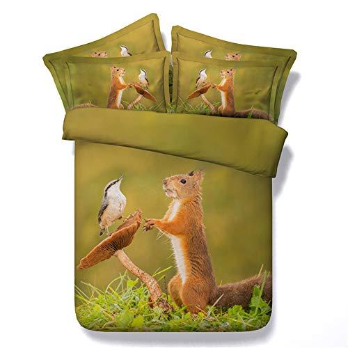 Morbuy set biancheria da letto set copripiumino matrimoniale 3 pezzi 3d stampato animale parure naturale copripiumino chiusura a zip letto matrimoniale e federa (240x220cm,scoiattolo)
